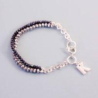 Glitter Bead Link Charm Bracelet, Silver/Light Pink/Pink
