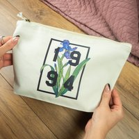 Personalised Birth Flower And Year Make Up Bag
