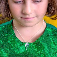 Girls Personalised Sterling Silver Cross Necklace, Silver
