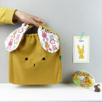 Bunny Rabbit Retro Scandi Bag For Easter, Brown/Grey/Rose Quartz