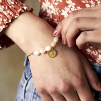 Pearl And Daisy Gold Slider Bracelet, Gold