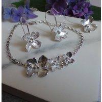 Handmade Hydrangea Silver Jewellery Set, Silver