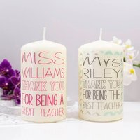 Personalised Thank You Candle For Teachers, Black/Pink/Blue