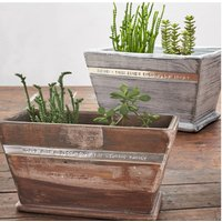 Personalised Wooden Pot Planter, White