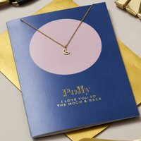 Personalised Moon And Back Card And Necklace Set