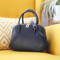 Leather Grab Handbag, Navy Blue