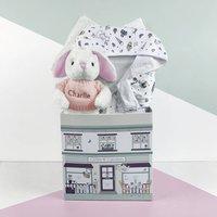 Personalised Baby Girl Bunny And Bathrobe Hamper, White