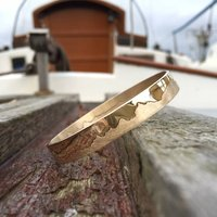 Personalised Gold Coastline Bangle, Gold