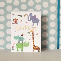 Mini Animal Christening Card