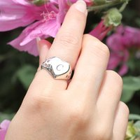 Sterling Silver Initial Heart Signet Ring, Silver