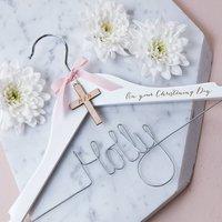 Personalised Engraved Cross Christening Hanger, White