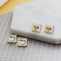 Silver Square Heart Stud Earrings, Silver
