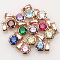 Rose Gold And Swarovski Crystal Birthstone Charm, Gold