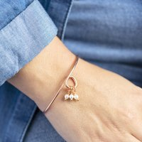 30th Birthday Pearl Charm Bangle