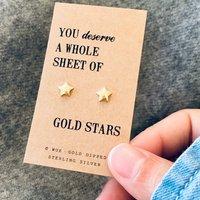 Sheet Of Gold Stars Earrings, Gold