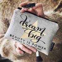 Personalised 'Dream Big' Chenille Makeup Bag