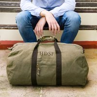 Personalised Military Green Canvas Holdall