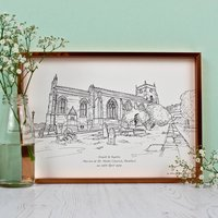 Personalised Wedding Venue Portrait On Paper, Teal/Light Blue/Blue