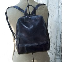 Navy Square Top Stylish Leather Rucksack