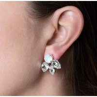 Silver Round And Pear Crystal Earrings, Silver