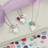 Childs Silver Heart Locket Personalised With Birthstone, Silver