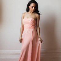 Floor Length Strapless Bridesmaid Or Prom Dress, Bright Pink/Pink/Champagne
