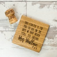 Personalised Driven To Drink Teachers Wine Coaster