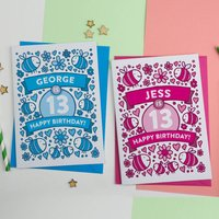 Personalised Bee's Illustrated 13th Birthday Card