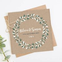 Botanical Kraft Folded Square Wedding Invite