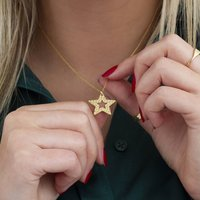 18ct Gold Personalised Cut Out Star Necklace, Gold