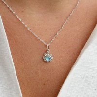 Daisy Necklace With Blue Topaz