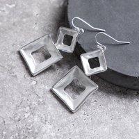 Silver Geometric Square Hoop Drop Earrings, Silver