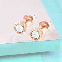 Rose Gold Opal Textured Stud Earrings, Gold