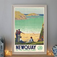 Vintage Travel G.W.R Poster For Newquay