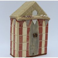 Number Ten Beach Hut Coastal Mosaic Ornament