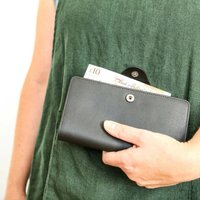 Black Leather Purse Or Wallet, Red/Yellow/Grey
