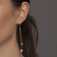 Gold Or Silver Long Freshwater Pearl Earrings, Silver