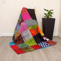 Patchwork Cotton Kantha Quilt Bedspread Blanket