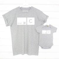 Copy And Paste Mac T Shirt Set, Grey/Navy/White