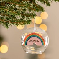 Personalised Rainbow Glass Dome Bauble