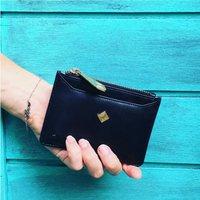 Ladies Luxury Leather Card Holder And Purse, Black/Aubergine/Teal