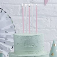Pink And White Glitter Tall Birthday Cake Candles, Pink