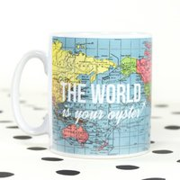 'World Is Your Oyster' World Map Mug