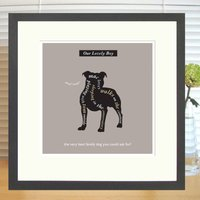 Personalised Staffie Lover's Print With Mount, Charcoal/Brown/Mauve