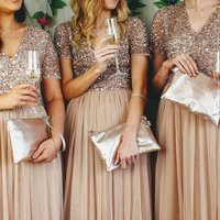 Bridesmaids Champagne Leather Clutch Bag Set Of Four