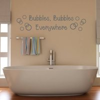 Bathroom Bubbles Wall Sticker, Black/White/Cream