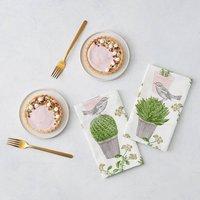 Cactus And Bird Napkin Set Of Four