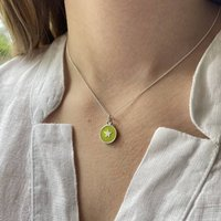 Small Star Enamel Necklace Sterling Silver Lime, Silver