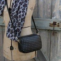Studded Cross Body Box Leather Personalised Handbag