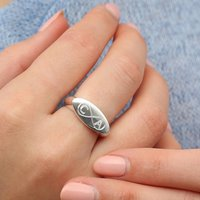 Personalised Sterling Silver Infinity Promise Ring, Silver